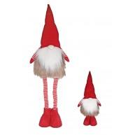 Karácsonyi manó szőrmés kabátban teleszkópos lábbal 95 cm karácsonyi dekoráció 058009