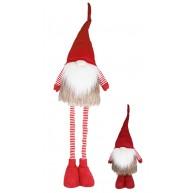Karácsonyi manó szőrmés kabátban teleszkópos lábbal 125 cm karácsonyi dekoráció