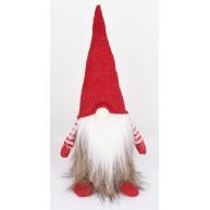Karácsonyi manó szőrmés kabátban 35 cm karácsonyi dekoráció 058015