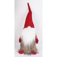 Karácsonyi manó szőrmés kabátban 50cm karácsonyi dekoráció 058016