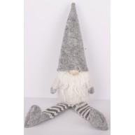 Karácsonyi manó lógólábú szürke 30 cm karácsonyi dekoráció 058021