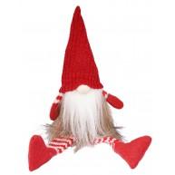 Karácsonyi manó szőrmés kabátban lógólábú 30cm karácsonyi dekoráció 058024
