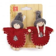 Lány és fiú karácsonyfadísz pár bórdó kabátban 9cm 058040