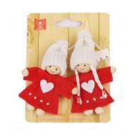 Lány és fiú karácsonyfadísz pár piros szívecskés kabátban 9 cm 058042