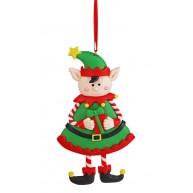 Agyag manólány akasztható karácsonyfadísz 141757
