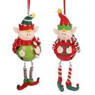 Agyag manó száncsegős pocakkal karácsonyfa dísz 141765