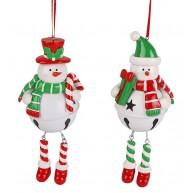 Agyag hóember száncsengős pocakkal karácsonyfa dísz
