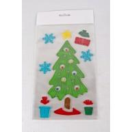 Zselés karácsonyi ablakdísz karácsonyfa ajándékokkal