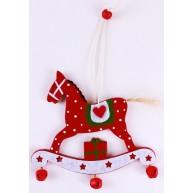 Karácsonyfadísz piros hintaló 3847