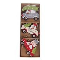 Fa karácsonyfadísz 3 autó fenyővel és ajándékokkal