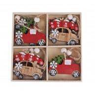 Autós karácsonyfadísz piros és natúr autókkal 8db