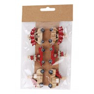Karácsonyi fa dekorációs csipesz autós natúr-piros 6db 408389