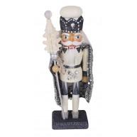 Fa diótörő figura, fehér-ezüst 20 cm karácsonyi dekoráció 729739