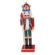 25cm-es Fa Diótörő király figura, zöld-piros  karácsonyi dekoráció 729732