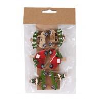 Karácsonyi fa dekorációs csipesz autós natúr-piros-zöld 6db 408462