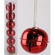 Karácsonyfadísz száncsengő piros-fém 6db 411763