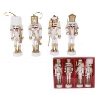 4 darabos Diótörő fa figura szett, fehér-arany karácsonyi dekoráció 729741