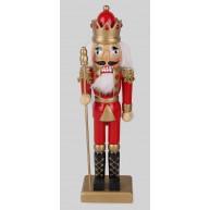 25cm-es fa Diótörő király figura, piros-arany karácsonyi dekoráció  729731