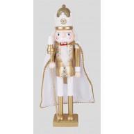38 cm-es Diótörő király figura, fehér-arany karácsonyi dekoráció  729721