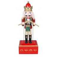 Felhúzható, zenélő fa Diótörő király, piros karácsonyi dekoráció 729718