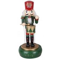 Felhúzható, zenélő fa Diótörő katona, zöld  karácsonyi dekoráció 729717
