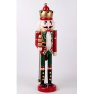38 cm-es álló Diótörő katona figura, piros-zöld karácsonyi dekoráció  729617