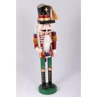 38 cm-es álló Diótörő katona karddal, piros-zöld karácsonyi dekoráció  729616