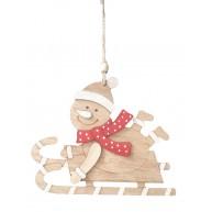 Fa hóember szánkón natúr karácsonyi dísz 414393
