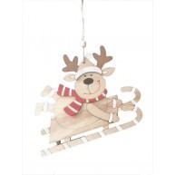 Fa rénszarvas szánkón natúr karácsonyi dísz 414395