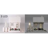 Karácsonyi fehér kisház dekoráció 3 LED-el, kerítéssel 15 cm 421274