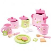 Legler fa teáskészlet rózsaszín virágos kiegészítőkkel 2849