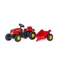 Rolly Kid-X pedálos traktor utánfutóval - piros