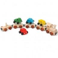 Legler Fa vonat készlet kisautókkal