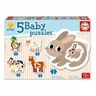 Educa Farm állatai 5 az 1-ben bébi puzzle, 2 x 2, 2 x 3, 1 x 4 darabos