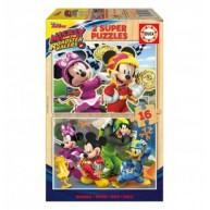 Educa Disney Mickey és az autóversenyzők fa puzzle, 2 x 16 darabos