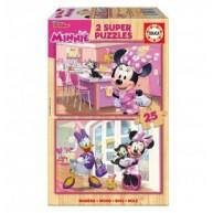 Educa Minnie egér boldog segítői fa puzzle, 2 x 25 darabos 17625