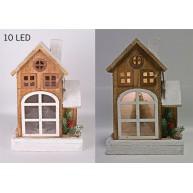 Karácsonyi nagyablakos házikó dekoráció 10 LED-el, 28 cm 421294