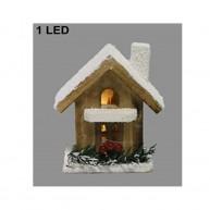 Karácsonyi kisházikó dekoráció 1 LED-el, 20 cm 421318