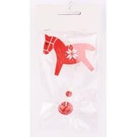 Lógó karácsonyfadísz - piros lovacska csengővel 452373
