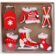 Karácsonyfa dekoráció - 6 részes piros csíkos sapis szett 452425