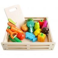 Szeletelhető mágneses élelmiszerek fa dobozban késsel és hámozóval 9430