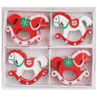 8db-os piros-fehér karácsonyfa dekor hintaló fából 452443-1