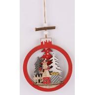 Karácsonyi lógó dekoráció gömbben fenyőfa és rénszarvas ajándékokkal 452466