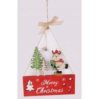 Fa ajtókopogtató korcsolyázó rénszarvassal Merry Christmas felirattal 452477