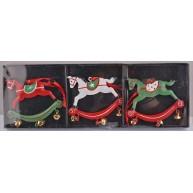 Fém karácsonyfa dekoráció 3db hintaló száncsengőkkel 452796