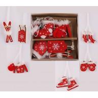 Karácsonyfadísz fából, piros-fehér hópihés, szőrmével díszített  453201 6db-os szett