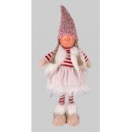 Karácsonyi dekoráció álló kislány szörmés mellényben csíkos pulóverrel 50cm 454177