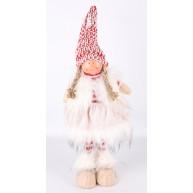 Karácsonyi dekoráció - álló lány szörmés mellényben csíkos pulóverrel 40cm 454178