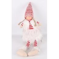 Karácsonyi dekoráció - ülő lógó lábú lány szörmés mellényben csíkos pulóverrel 44cm 454182