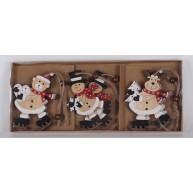 Fa karácsonyfadísz dekoráció natúr mackó, hóember, rénszarvas korcsolyán 456604
